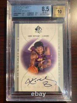 2000-01 SP Authentic Kobe Bryant Sign of the Times PLATINUM BGS 8.5 with 10 AUTO