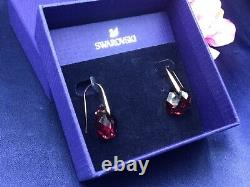 Authentic Signed Swarovski Galet Red Pierced Earrings 1032280 Rare Collectable