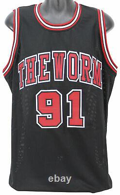 Bulls Dennis Rodman Authentic Signed Black Jersey Autographed BAS Witnessed