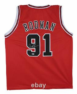 Bulls Dennis Rodman Authentic Signed Red Jersey Autographed BAS
