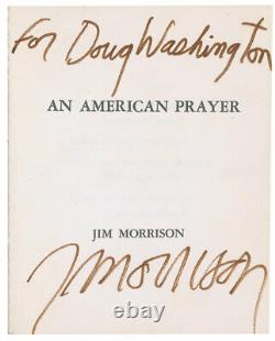 Jim Morrison The Doors Signed Authentic An American Prayer Extremely Poetry Book