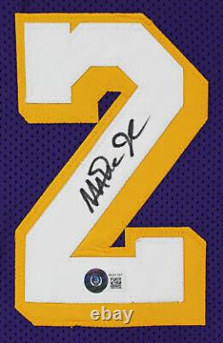 Magic Johnson Authentic Signed Purple Pro Style Jersey Autographed BAS Witnessed