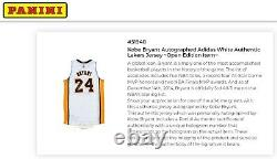 Panini Auth. KOBE BRYANT SIGNED AUTOGRAPHED Adidas White AUTHENTIC LAKERS JERSEY