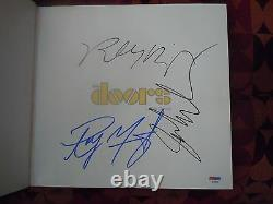 The Doors Authentic Autographs Jim Morrison Book Signed By Ray Robbie & John PSA
